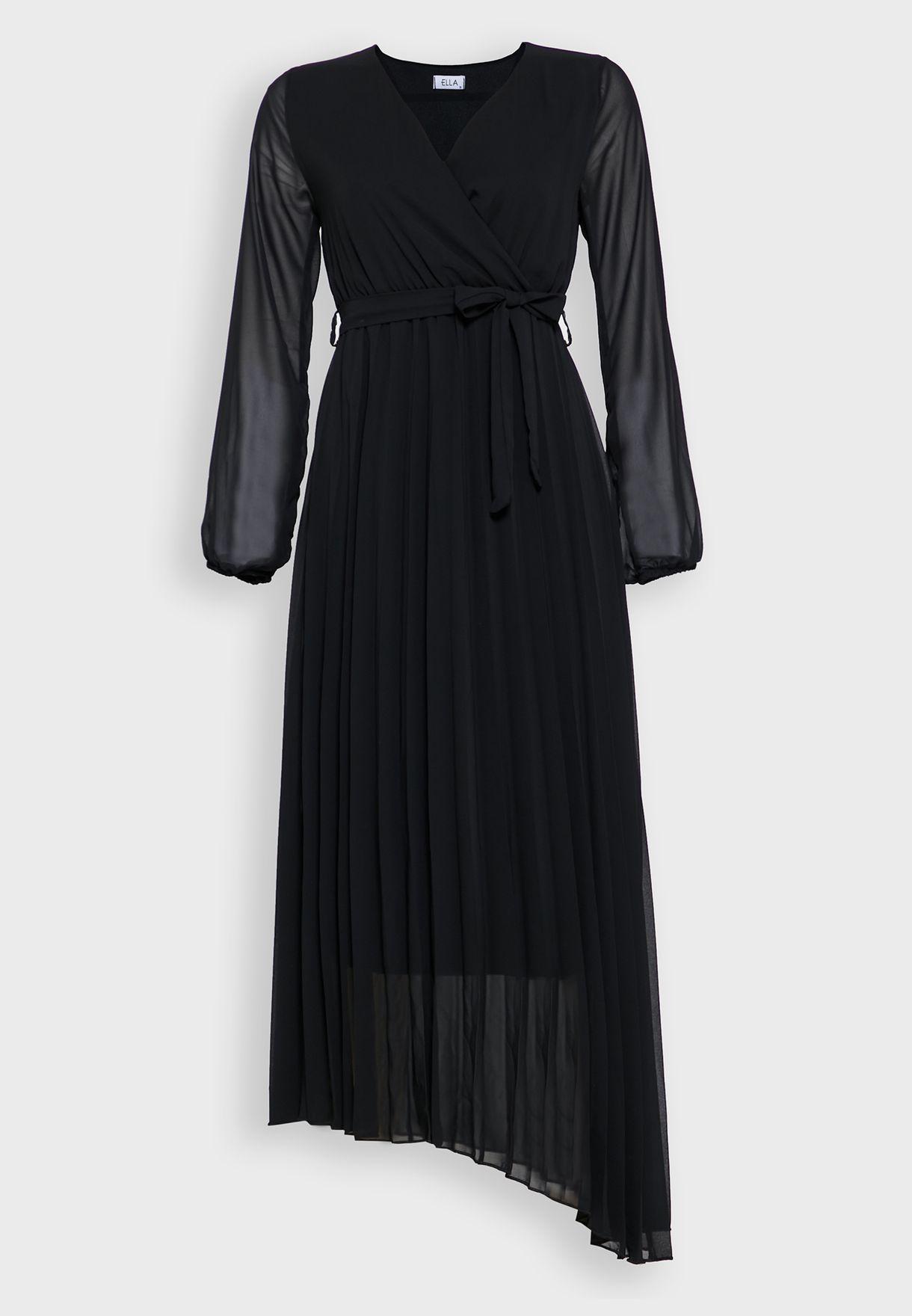 فستان ماكسي لف مع اكمام طويلة شفافة
