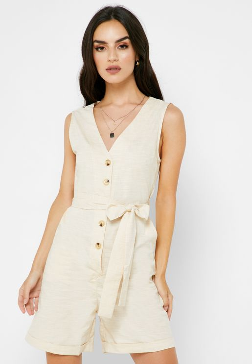 Striped Button Down Self Tie Playsuit