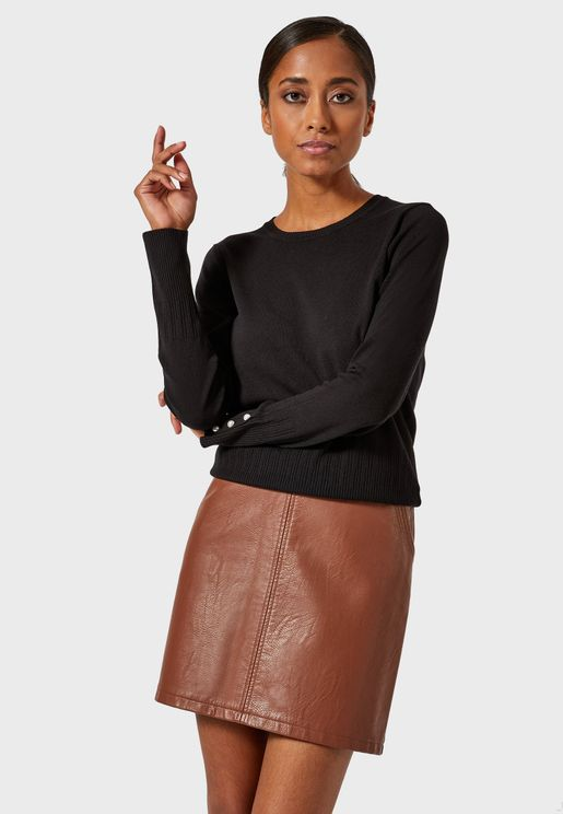 Embellished Cuff Roll Neck Sweater