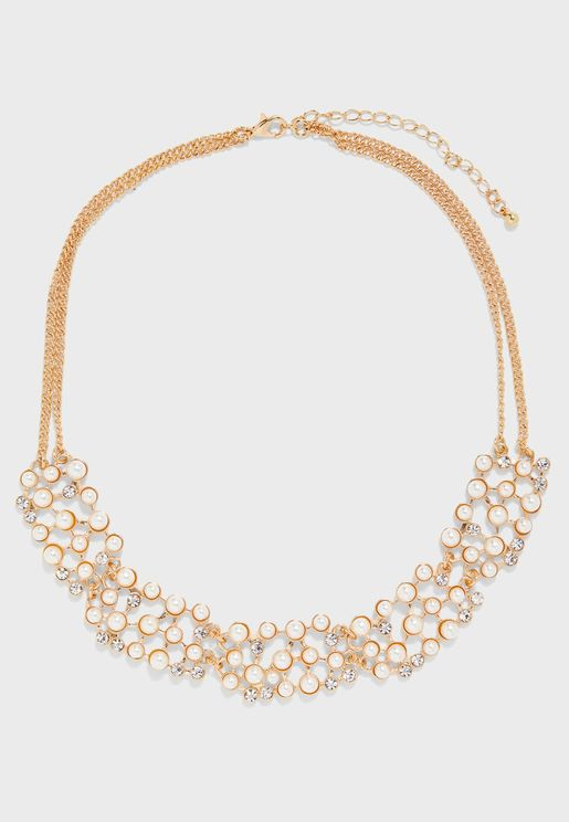 Necklace With Pearl & Diamante Detail