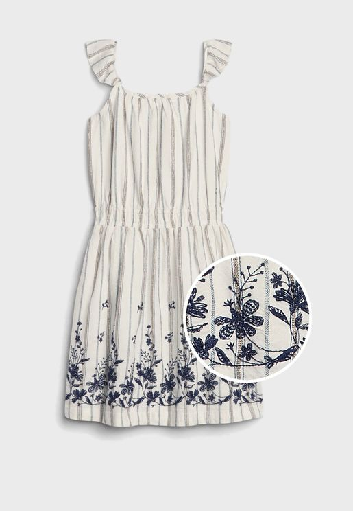 Kids Embroidered Ruffle Detail Dress
