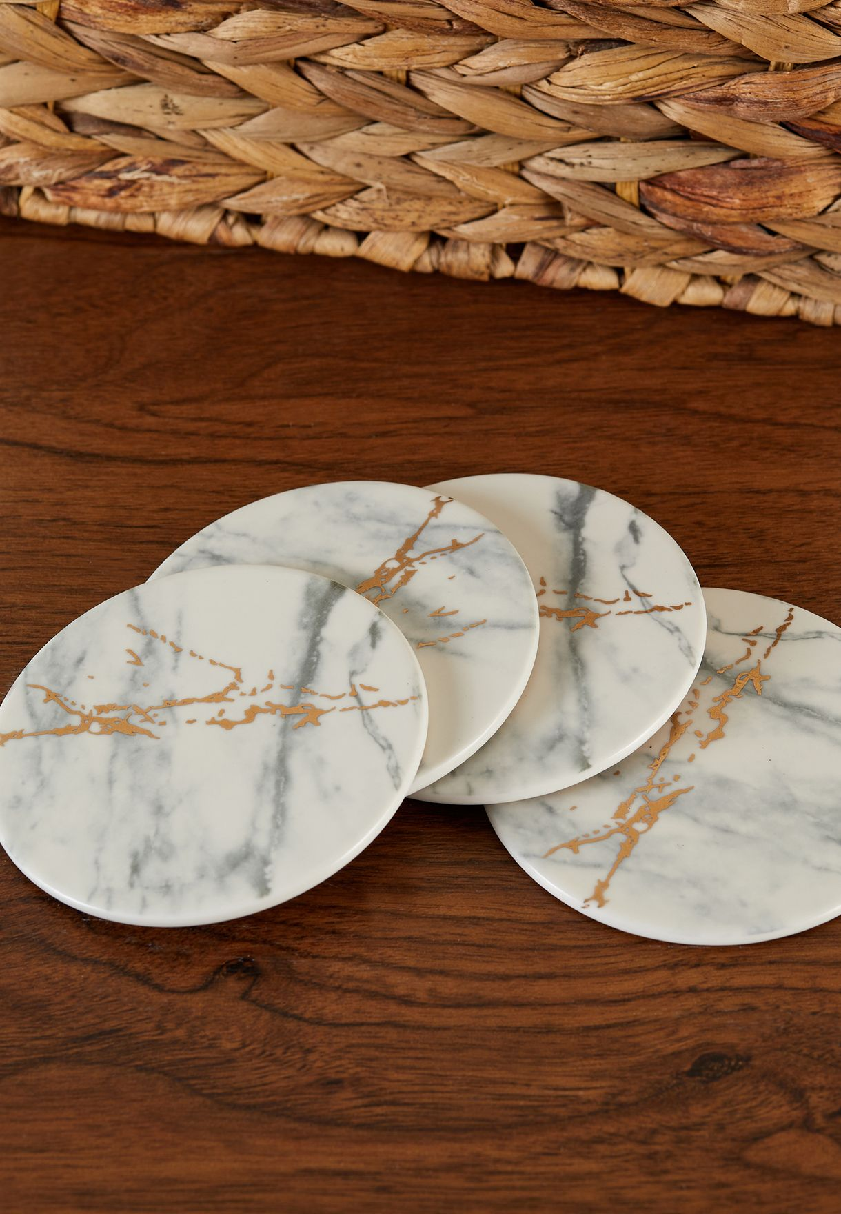 Set Of 4 Marble & Gold Finish Luxe Coasters