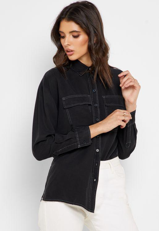 High Low Pocket Detail Shirt