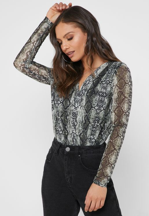Snake Print Surplice Body