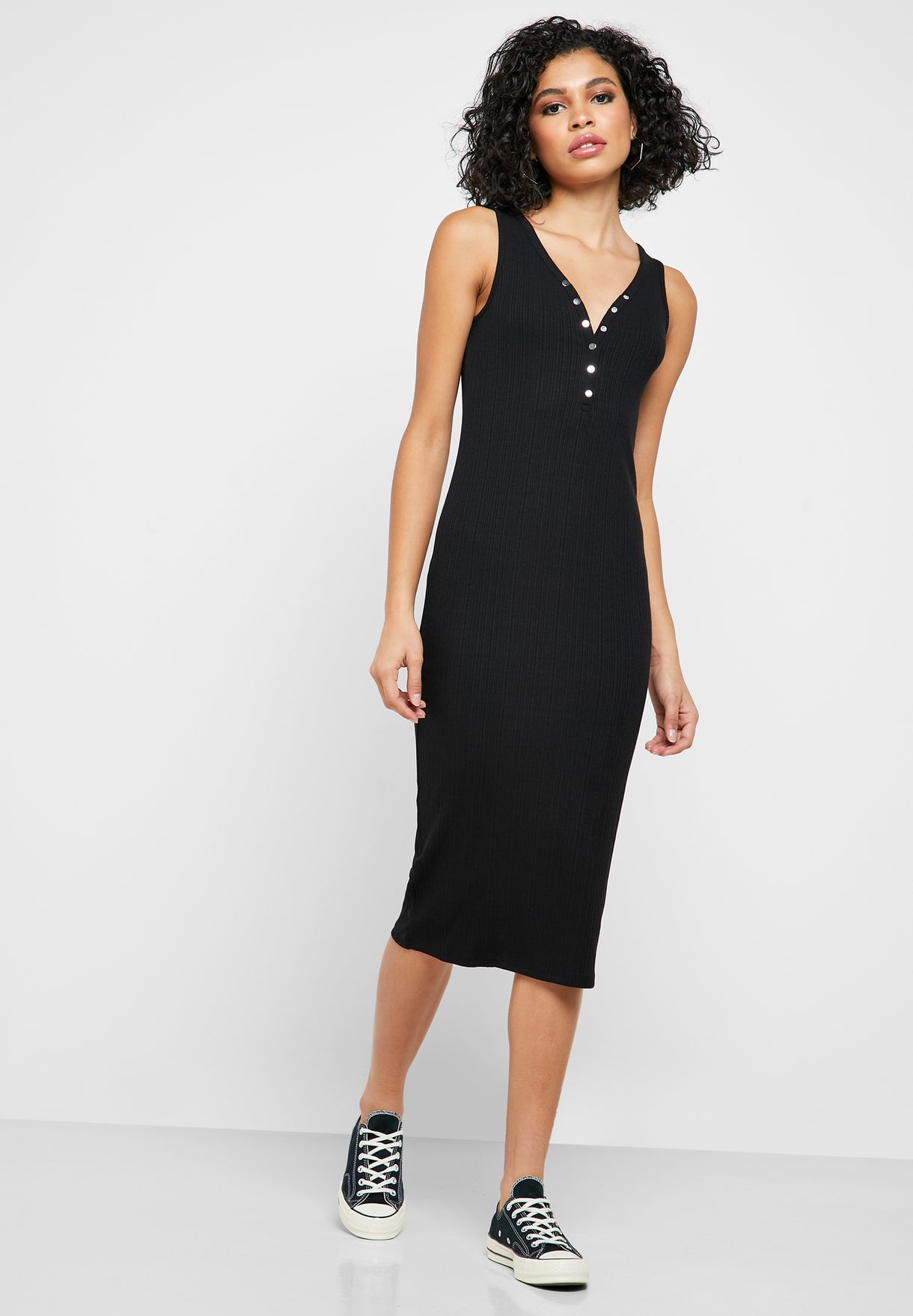 Button Front Ribbed Bodycon Dress
