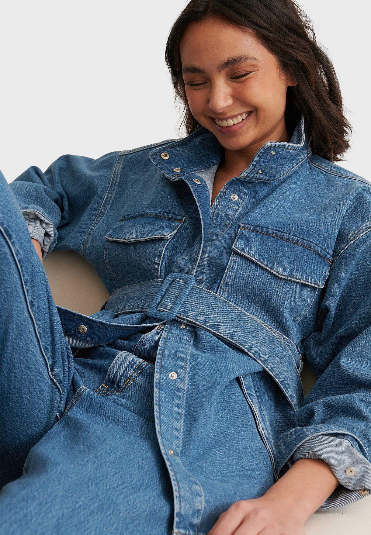 جاكيت جينز بحزام خصر