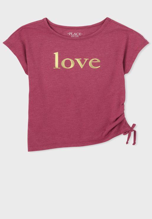 Kids Side Tie Love Top
