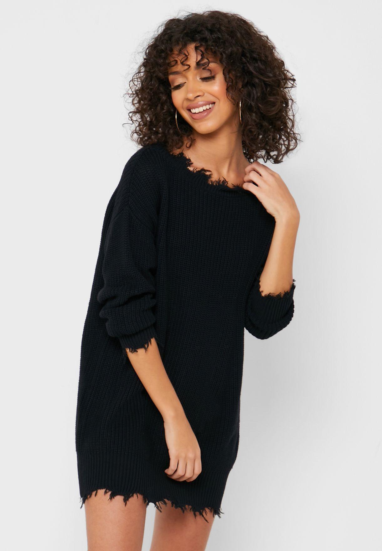 Distressed Sweater Dress