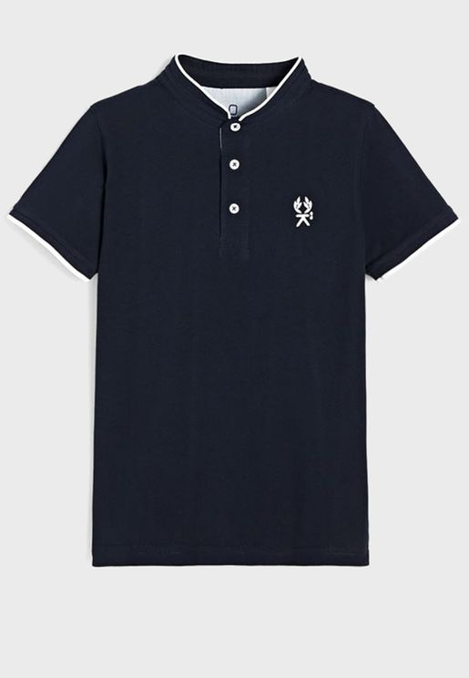 Youth Stand Up Collar Polo