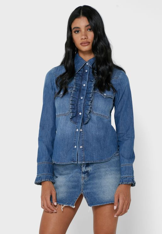 Trissy  Button Down Denim Jacket