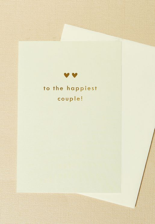 Happiest Couple Two Hearts Wedding Card