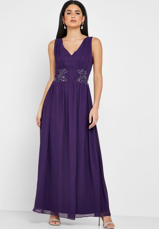 Emnroidered Waist Trim Dress