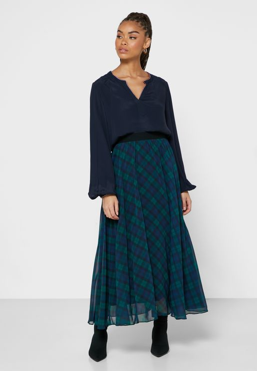 Icon Tartan Pleated Midi Skirt