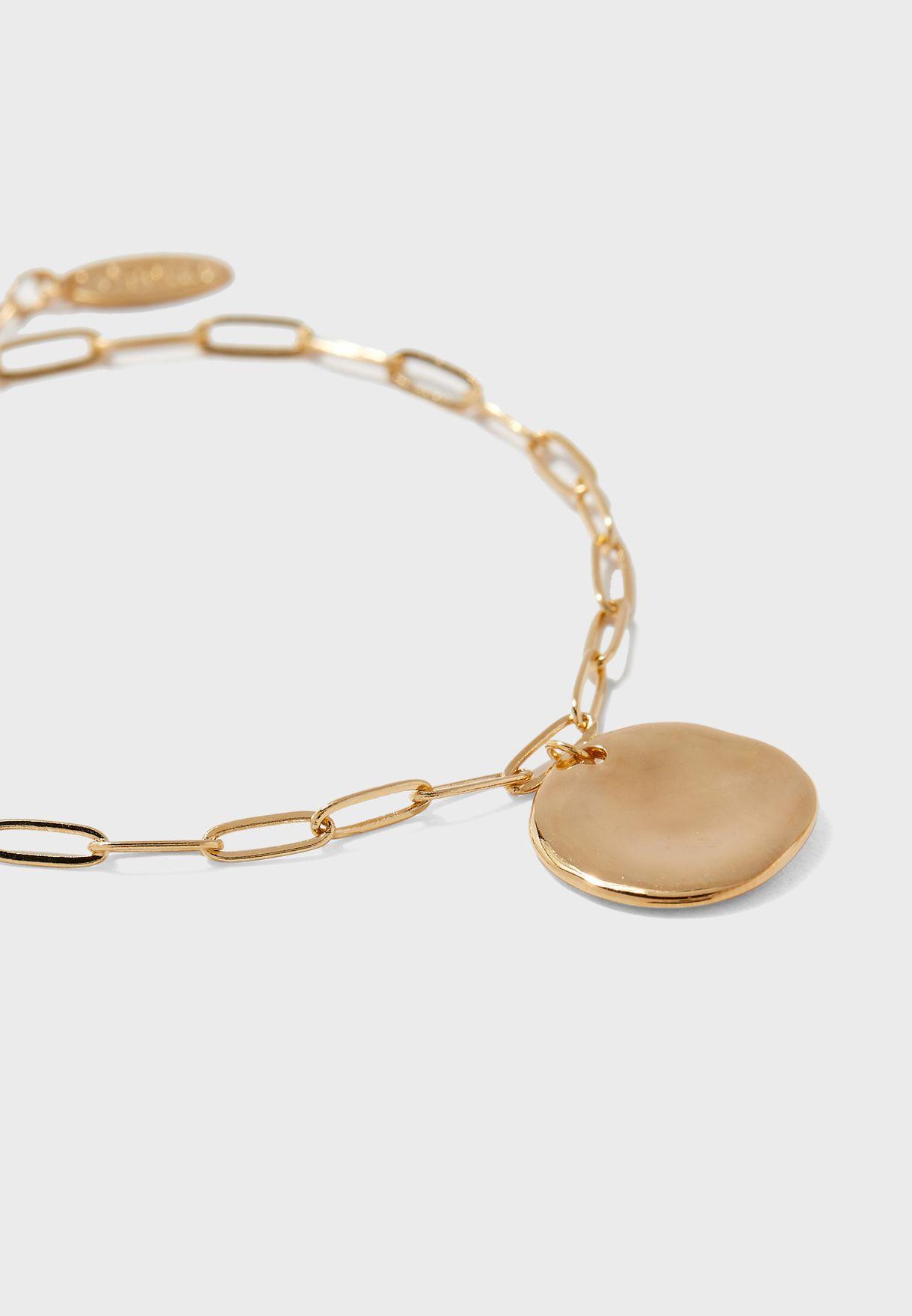 Coin & Chunky Chain Bracelet