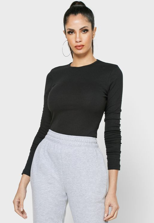 Crew Neck Ribbed Top