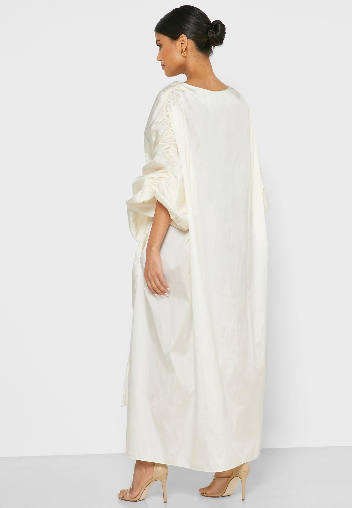 Gathered Sleeve Belted Midi Dress