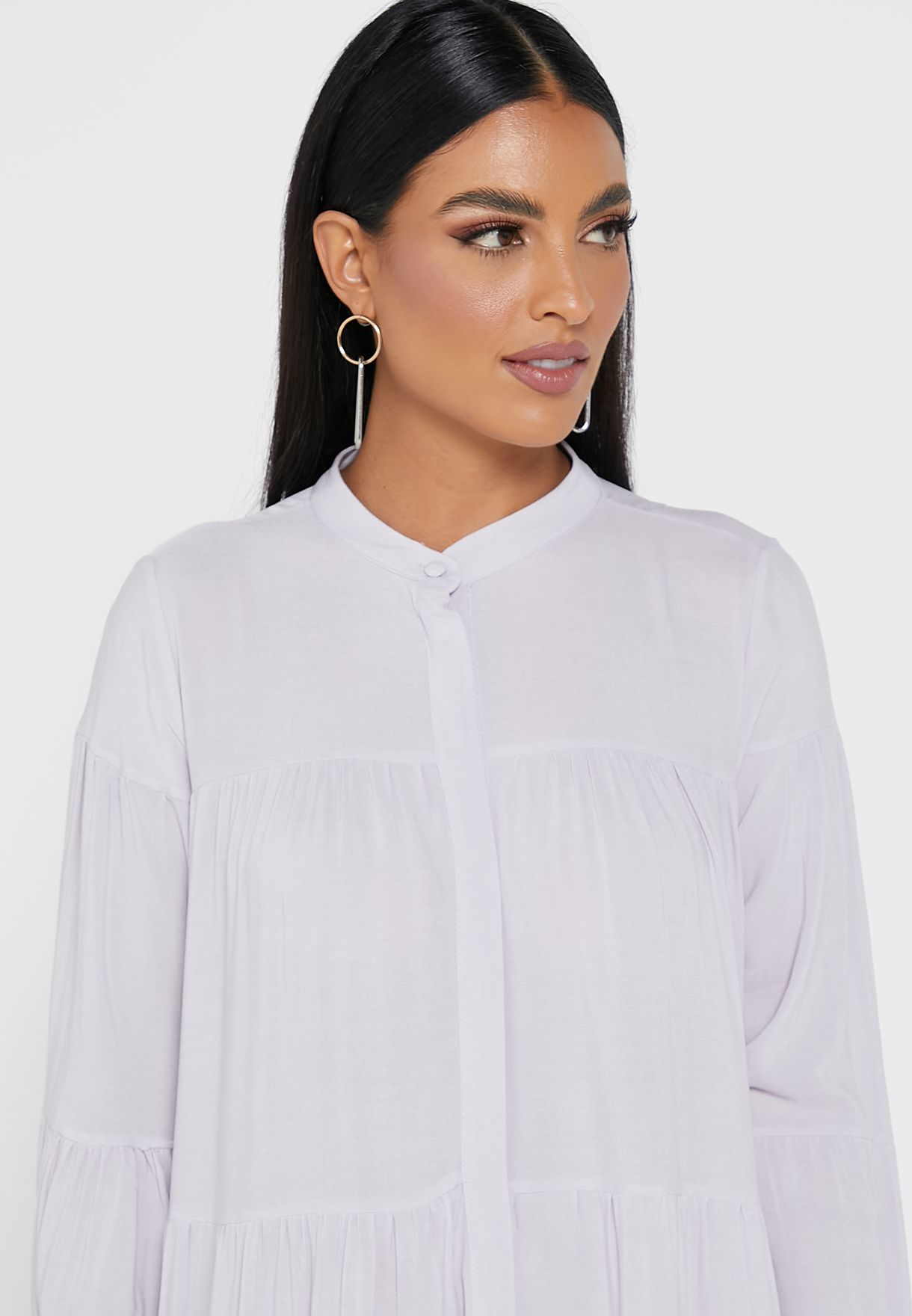 Tiered Hem Shirt Dress