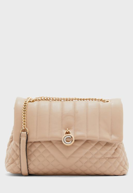 Front Button Quilted Crossbody
