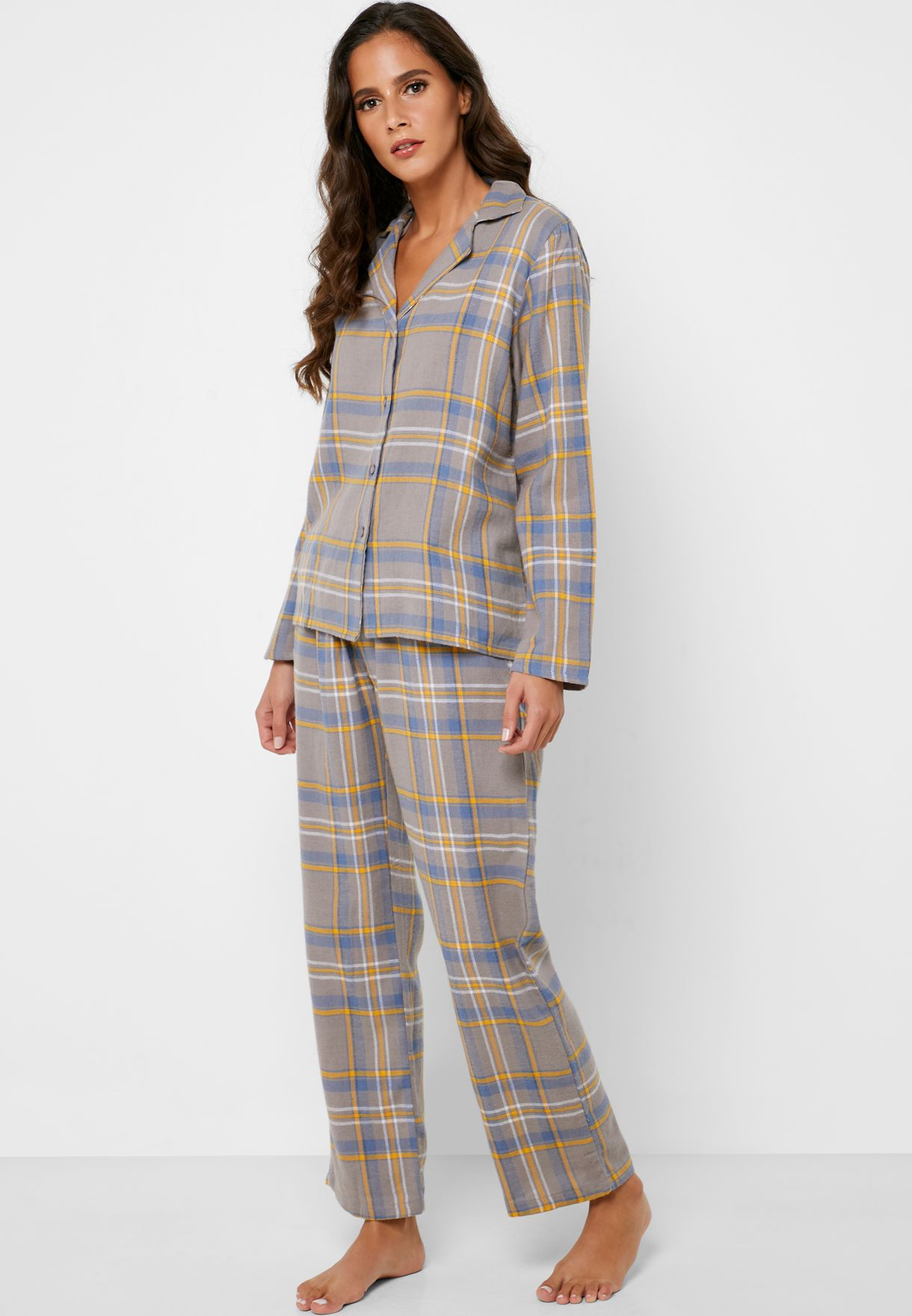 Checked Shirt Pyjama Set w/ Gift Bag