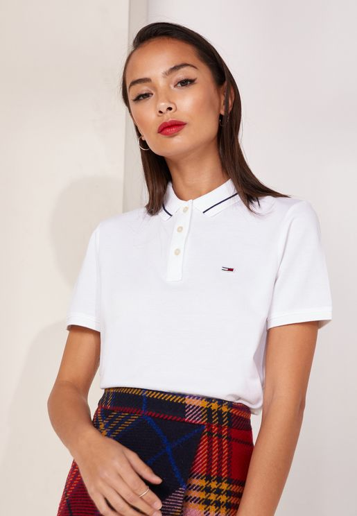 Collar Detail Classic Polo Top