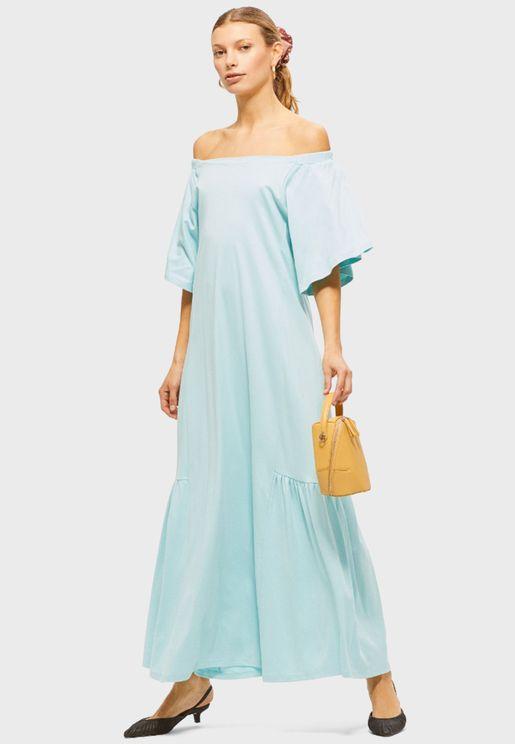 Square Neck Tropical Print Dress