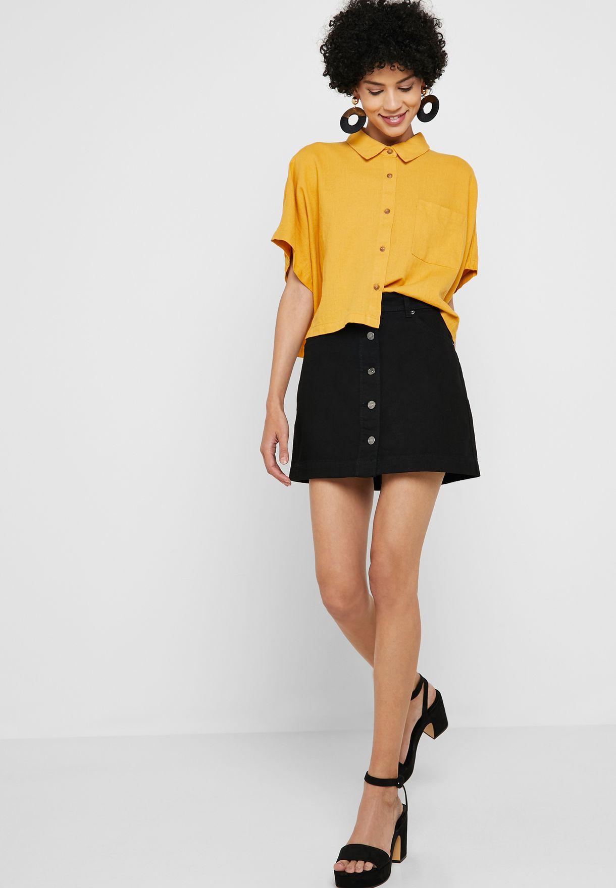 c48ed87779 Shop Forever 21 black Button Front Denim Mini Skirt 353234 for Women ...