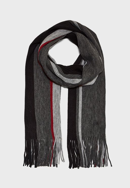 MENS STRIPED SCARF WITH TASSLES
