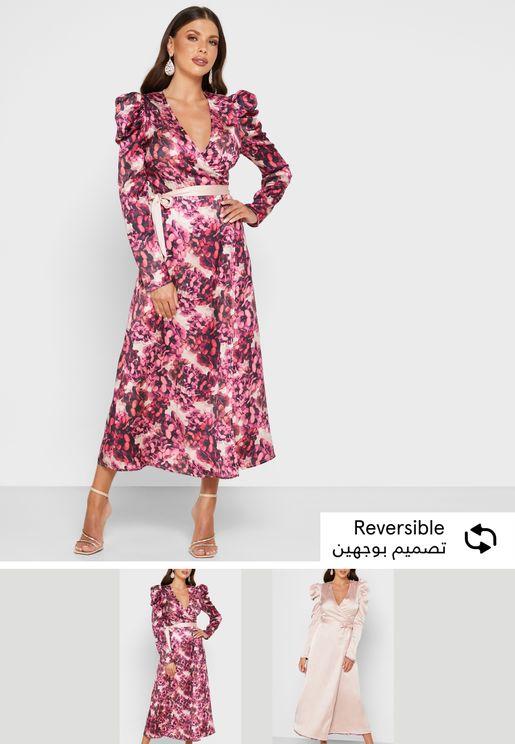 فستان لف بطبعات ازهار