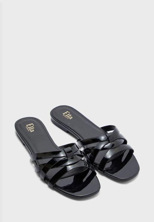 Woven Patent Flat Sandal