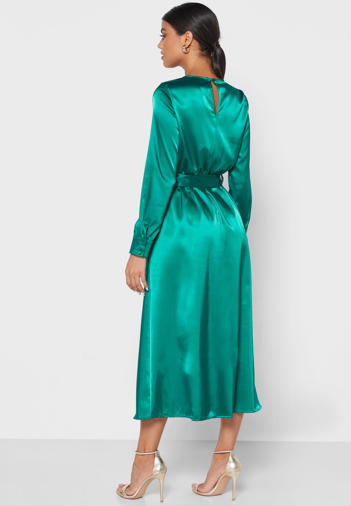 فستان ستان ميدي بحزام
