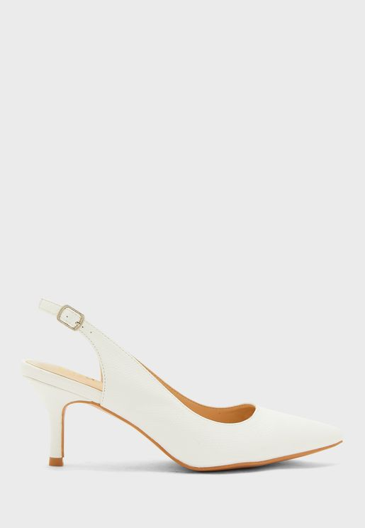 Textured Pointed Slingback Kitten Heel Pump