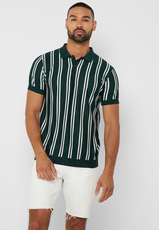 Knit Stripe Polo Shirt
