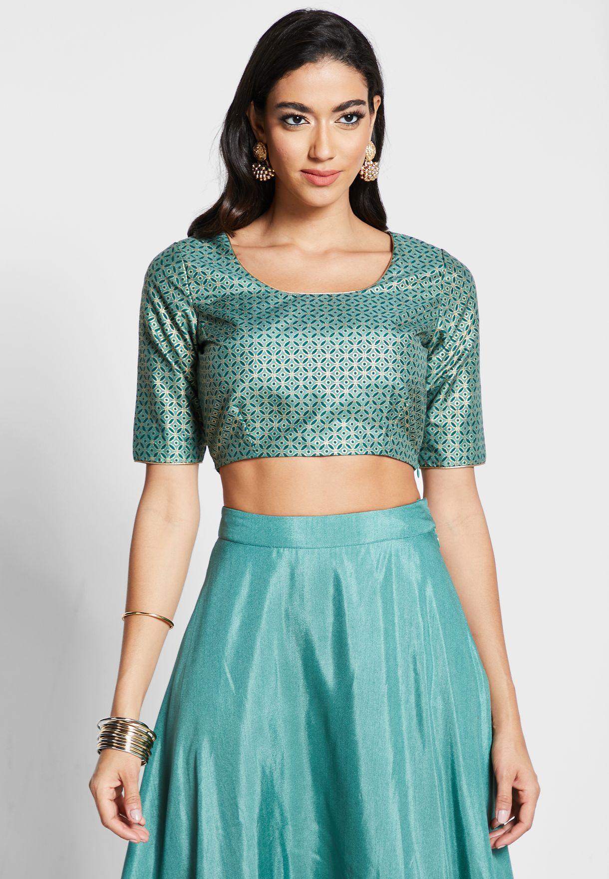 Jade Mughal Foil Crop Top