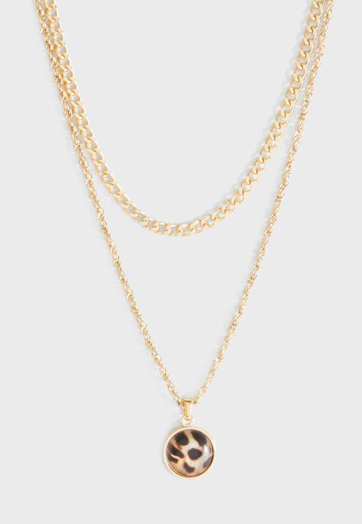 Leopard Pattern Multi Chain Necklace