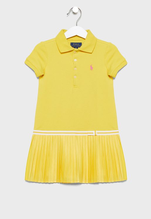 Kids Ruffle Hem Polo Dress