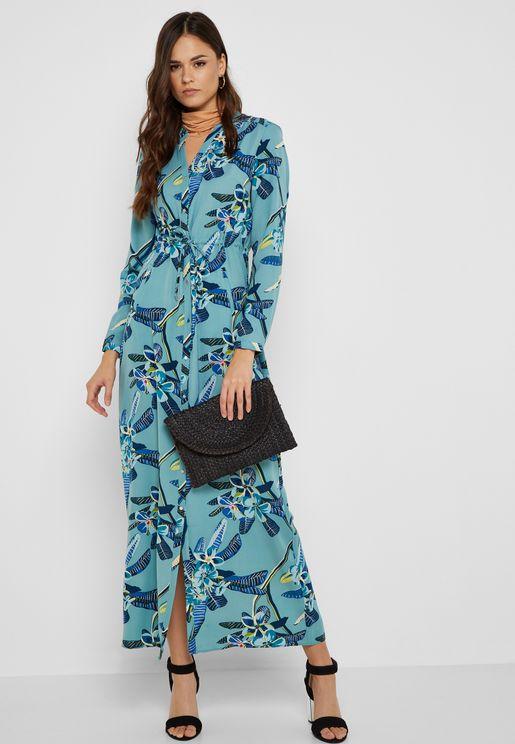 Split Neck Maxi Shirt Dress