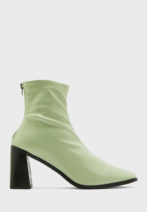 Rounded Point Boot With Heel Detail