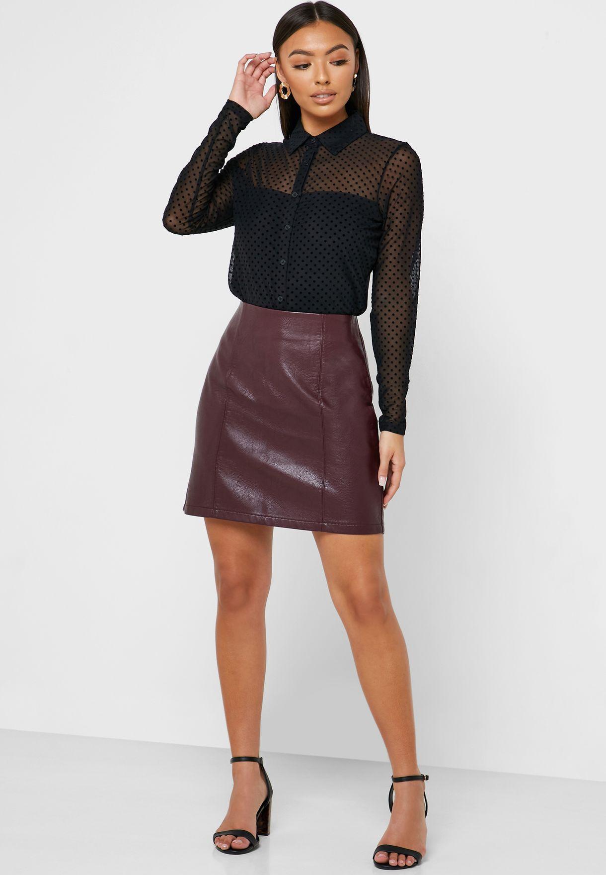 Seam PU Skirt