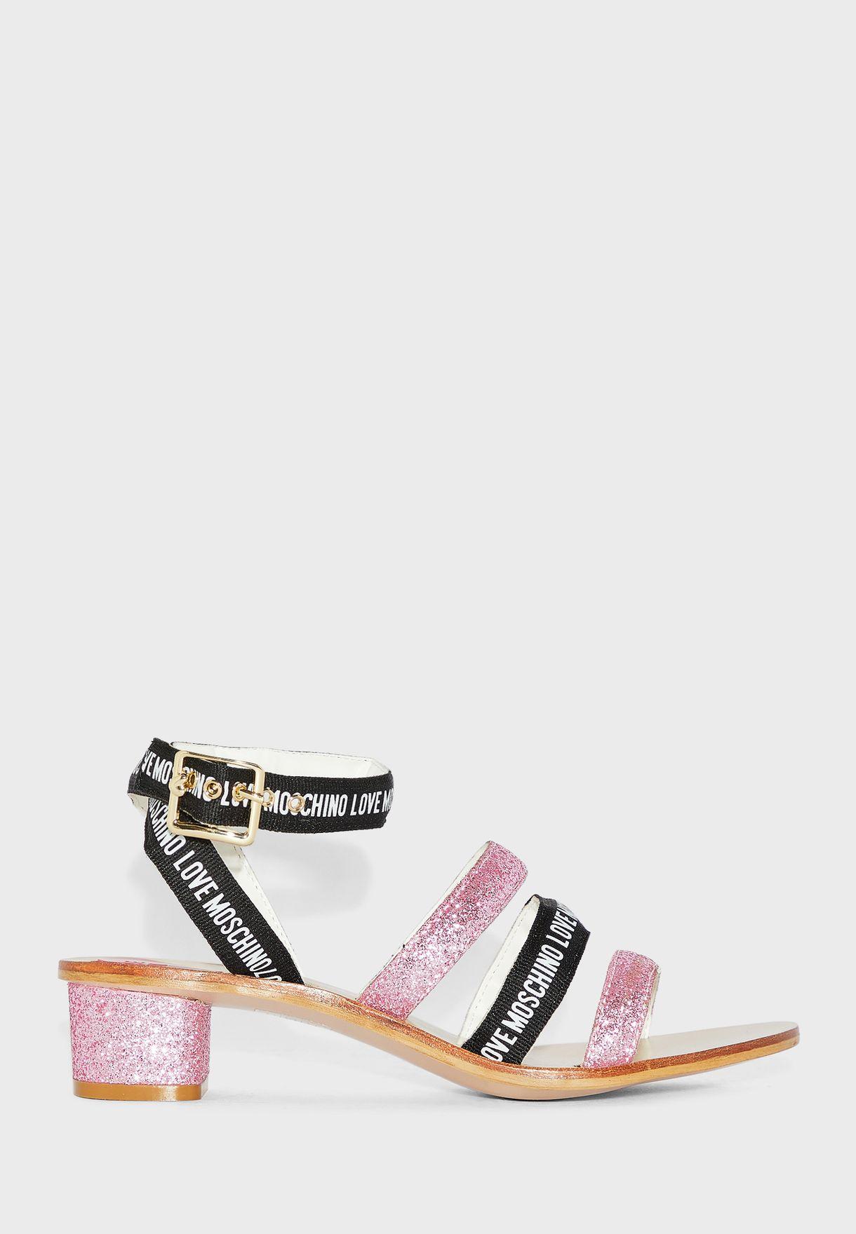 Multi Strap Low Heel Sandal - Rosa