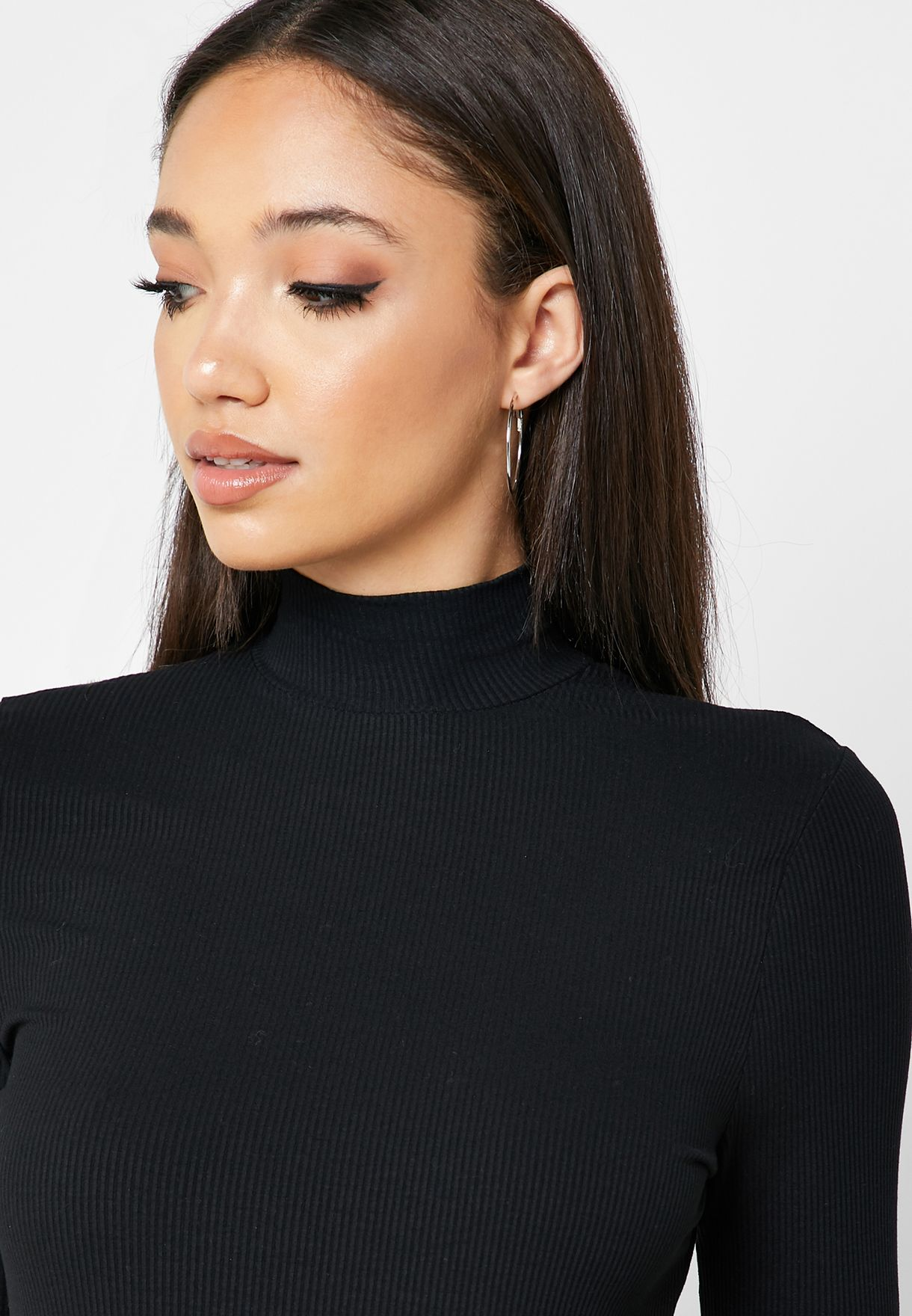 High Neck Ribbed Top