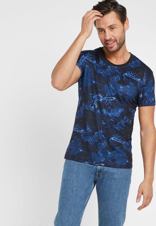 Floral Print Crew Neck T-Shirt