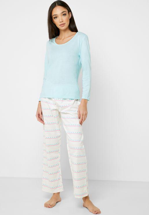 Contrast Detail T-Shirt & Striped Pyjama Set