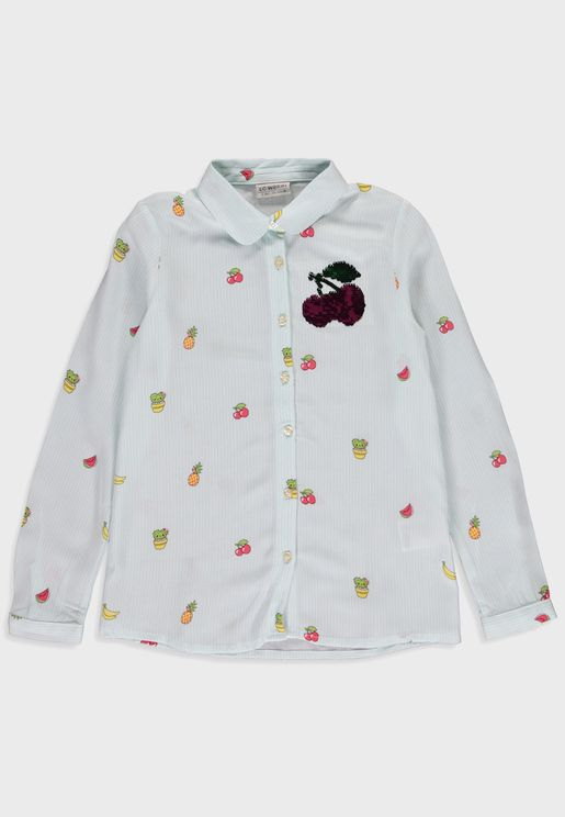 Kids Printed Viscose Shirt