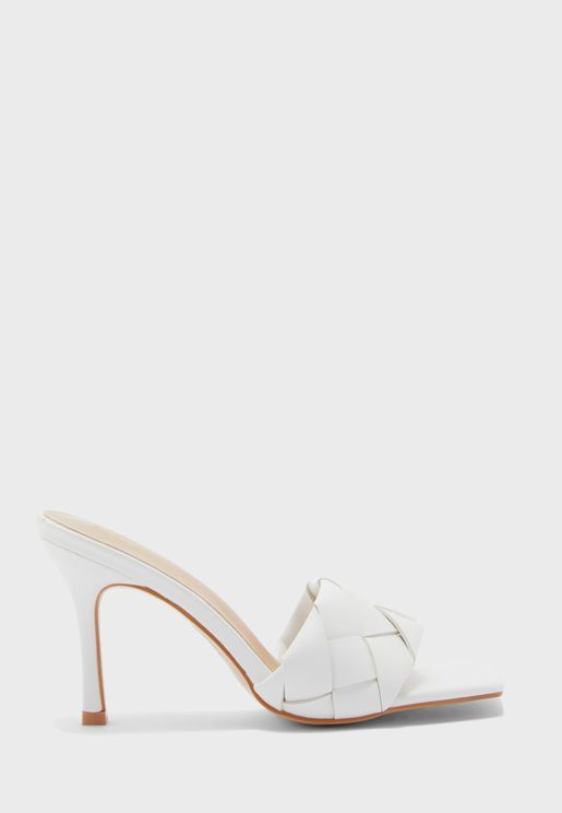 Weaved Square Toe Stiletto Mule
