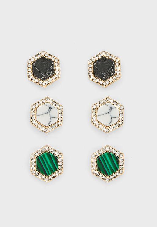 Pack Of 2 Precious Hexagon Marble Stud Earrings
