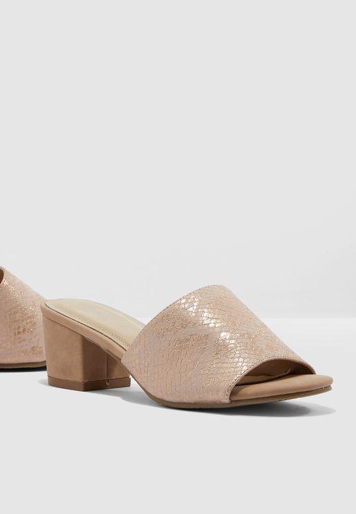 Block Heel Sandal - Nude