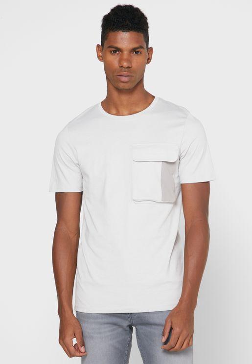 Flap Pocket Slim Fit Crew Neck T-Shirt