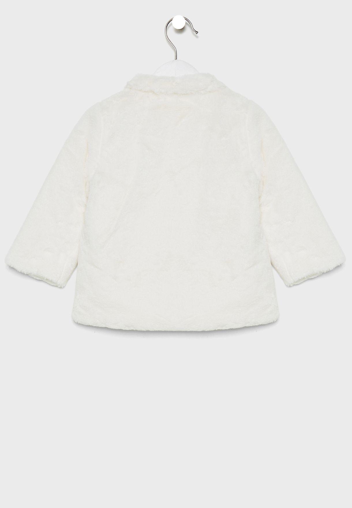 Infant Fur With Pom Pom Detail Jacket