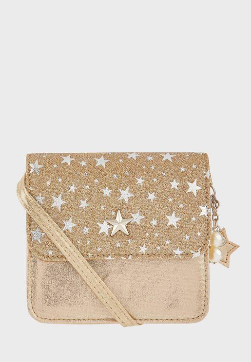 Kids Glitter Star Cross Body Bag