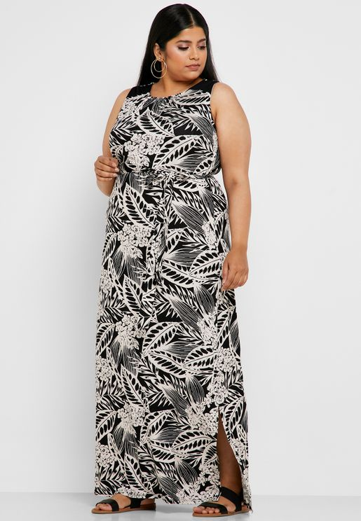 f9e8b4a439a Tie Waist Printed Maxi Dress